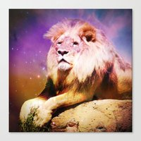 the lion king Canvas Prints featuring King Lion by SwanniePhotoArt