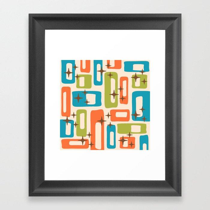 Retro Mid Century Modern Abstract Pattern 921 Orange Chartreuse Turquoise Gerahmter Kunstdruck
