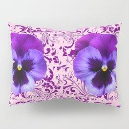 PINK ART &  LILAC PURPLE PANSY SPRING FLORAL PATTERN Pillow Sham