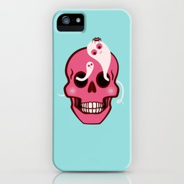 Cute Skull With Spider And Ghosts In Eye Sockets iPhone Case