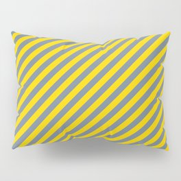 Yellow & Slate Gray Colored Striped/Lined Pattern Pillow Sham