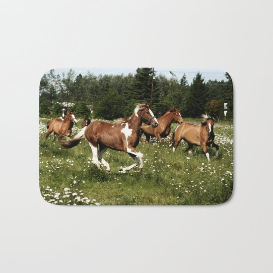 Spring Horse Run Bath Mat