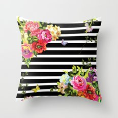 Stripes Floral Throw Pillow