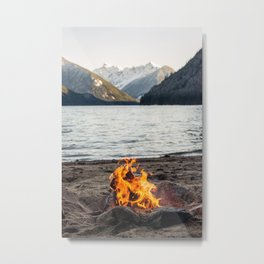 Fire on the lake Metal Print