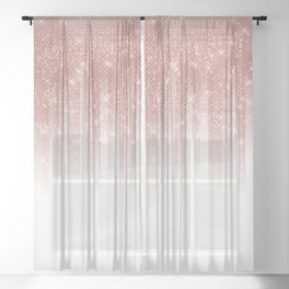 Girly Glamorous Rose Gold Glitter Striped Gradient Sheer Curtain