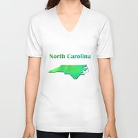 north carolina V-neck T-shirts featuring North Carolina Map by Roger Wedegis