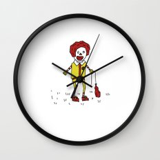 Sad Ronald McDonald In A Field Wall Clock