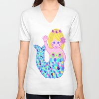 mermaids V-neck T-shirts featuring Mermaids by SqueakyAngel