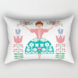 Scandinavian Flower Princess Rectangular Pillow