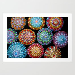 Colorful Mandala painted stones Art Print