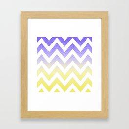 BLUE & YELLOW CHEVRON FADE Framed Art Print