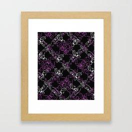 Dark Vintage Lace Pattern Framed Art Print