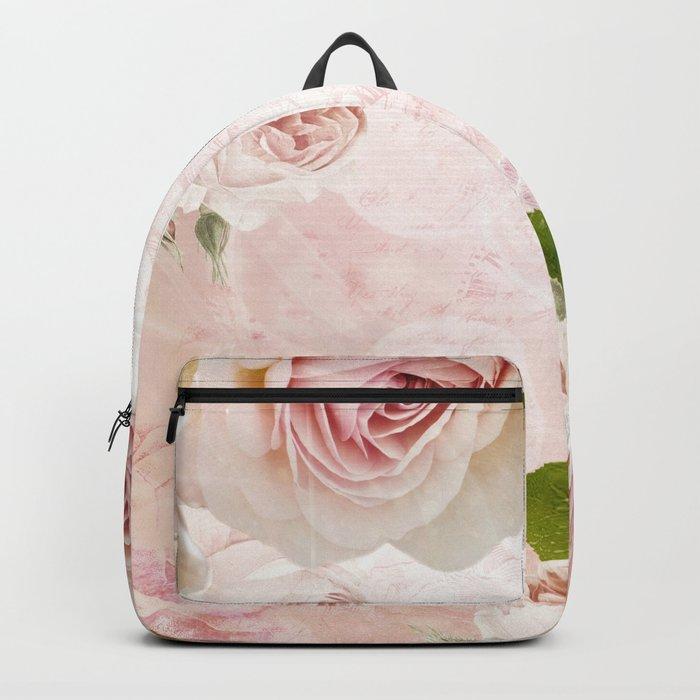 Vintage Flower Pink English Roses Collage Backpack