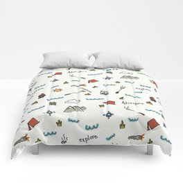 Adventure Pattern | Camping Pattern | Hiking Pattern | Hand Drawn Outdoors Pattern Comforters