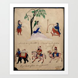 A lady consults a devotee about her fortune in the top half of the painting while different beasts o Art Print