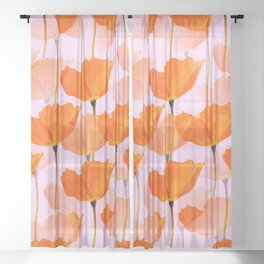 Orange Poppies On A Pink Background #decor #society6 #buyart Sheer Curtain