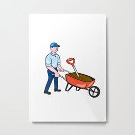 Gardener Pushing Wheelbarrow Cartoon Metal Print