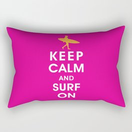 Keep Calm and Surf On (Surfer Girl) Rectangular Pillow