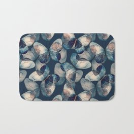 Dark blue pattern of butteflies Bath Mat