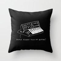 pun Throw Pillows featuring Moog pun by Alxndra Cook