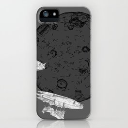 Around the Moon Grey and White Textured Version #5 iPhone Case