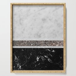 White and Black Marble Silver Glitter Stripe Glam #1 #minimal #decor #art #society6 Serving Tray