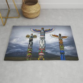 Colorful Totem Poles in the Northwest Rug