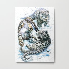 Little snow leopards Metal Print