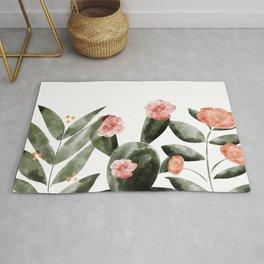 Watercolor Cactus Floral Rug