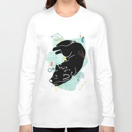 Dreaming wolf illustration Long Sleeve T-shirt