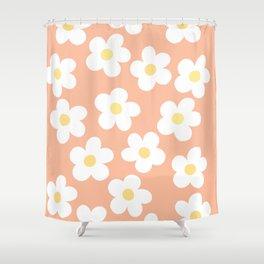 Peach 70's Retro Flower Power Shower Curtain