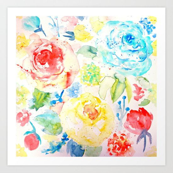 Abstract Flowers 06 Art Print