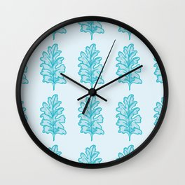 Aqua Dusty Miller Leaves Pattern Wall Clock