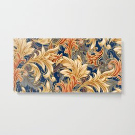 Rococo Bliss | Navy-Coral-Gold Metal Print
