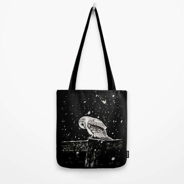 Snowfall at Night (Owl) Tote Bag