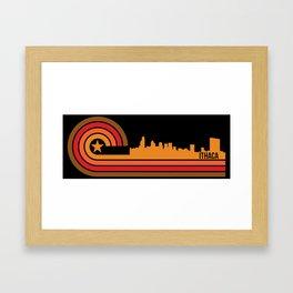 Retro Ithaca New York Skyline Framed Art Print