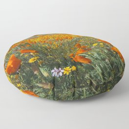 California Wildflower Poppy Superbloom Floor Pillow