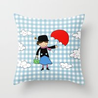 mary poppins Throw Pillows featuring Mary Poppins by EnelBosqueEncantado
