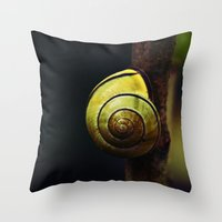 snail Throw Pillows featuring Snail by LoRo  Art & Pictures
