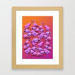 Flamingos Sunrise Framed Art Print
