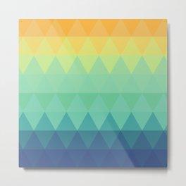 Retro orange yellow mint green teal blue turquoise triangles nordic geometric pattern Metal Print