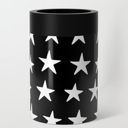 Star Pattern White On Black Can Cooler