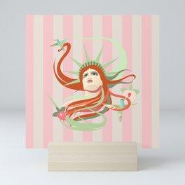 Liberty Awakes - pink stipes  Mini Art Print