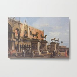 The Horses of San Marco in the Piazzetta - Canaletto (Distressed Plaster Look) Metal Print