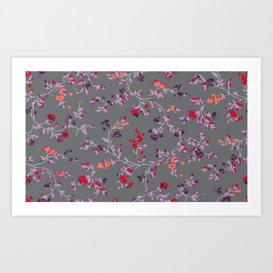 floral vines - dark grey and lilacs Art Print