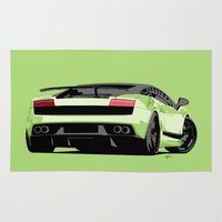 lamborghini Area & Throw Rugs featuring LAMBORGHINI GALLARDO by MATT WARING