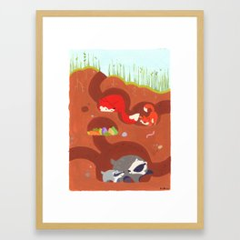 Den (Foxes and Badgers) Framed Art Print