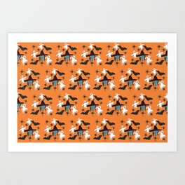 Halloween pattern Witch Monsters Art Print