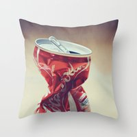 coke Throw Pillows featuring Coke by Ntaly