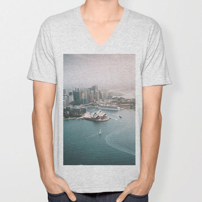 Sydney Opera House Harbour Bridge | Australia Aerial Travel Photography Unisex V-Neck